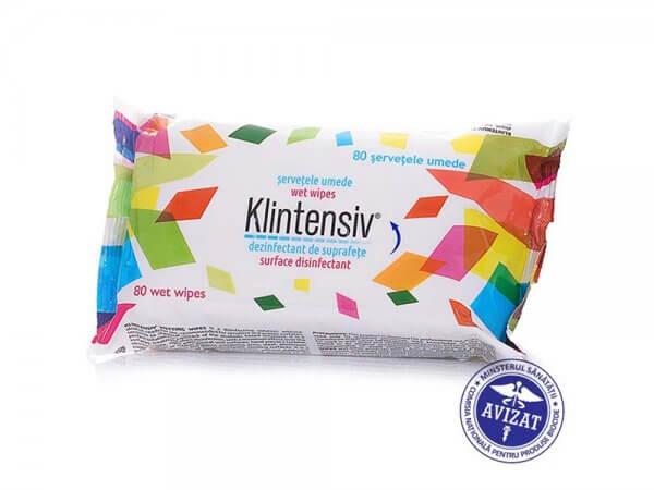 Servetele umede dezinfectante pentru suprafete KLINTENSIV