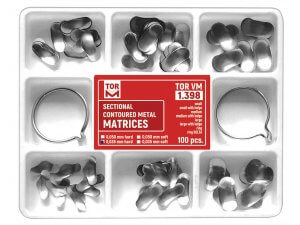 Kit 100 matrici metalice secționale hard asortate + 2inele TorVM