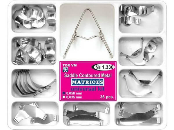 Kit 36 matrici metalice conturate 0.050 mm + cleste TorVm 1.330