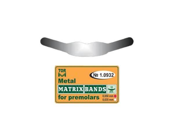 Matrice metalică tip bandă pentru dinți Premolari 0.050 mm-12bucSet TorVm 1.0932